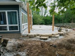 Pergola Posts Outcropping Wall Upper Patio