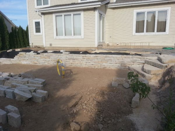 Gas Line Installation Outdoor Firepit Grafton Wisconsin Landscaping Retaining Wall Background
